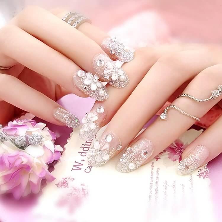 mẫu nail đắp bột đơn giản