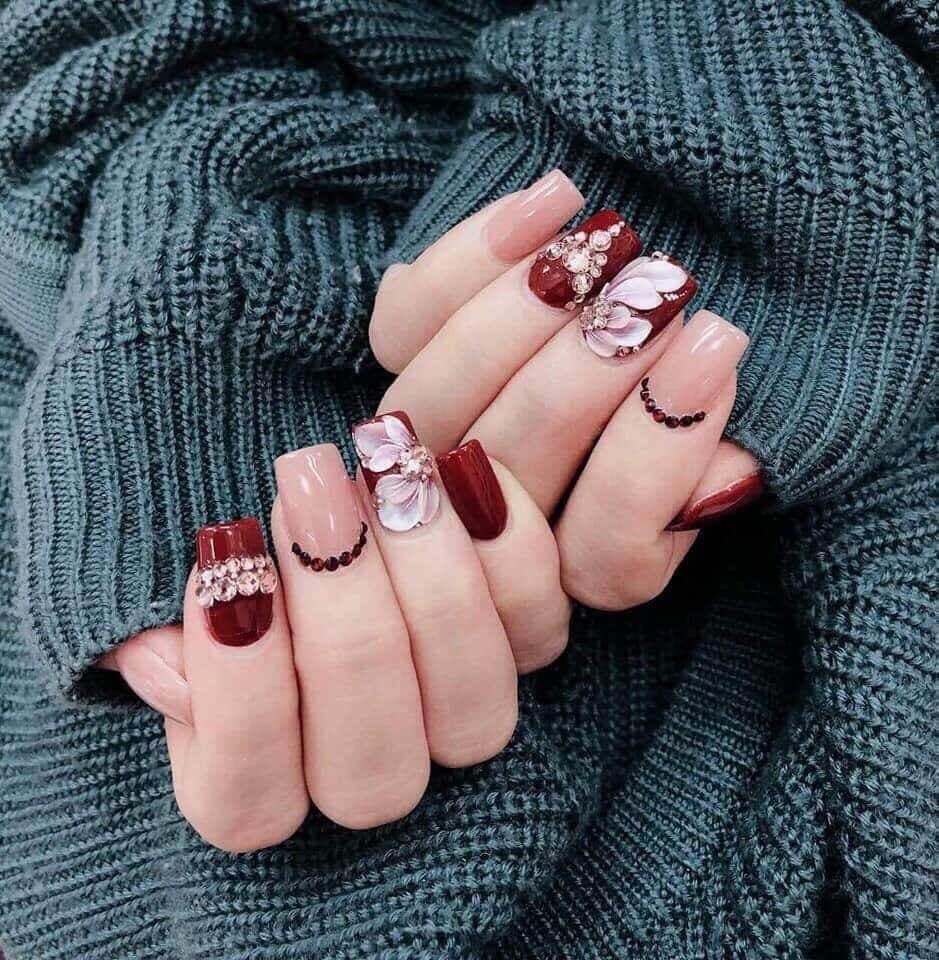 các mẫu nail vẽ hoa đẹp