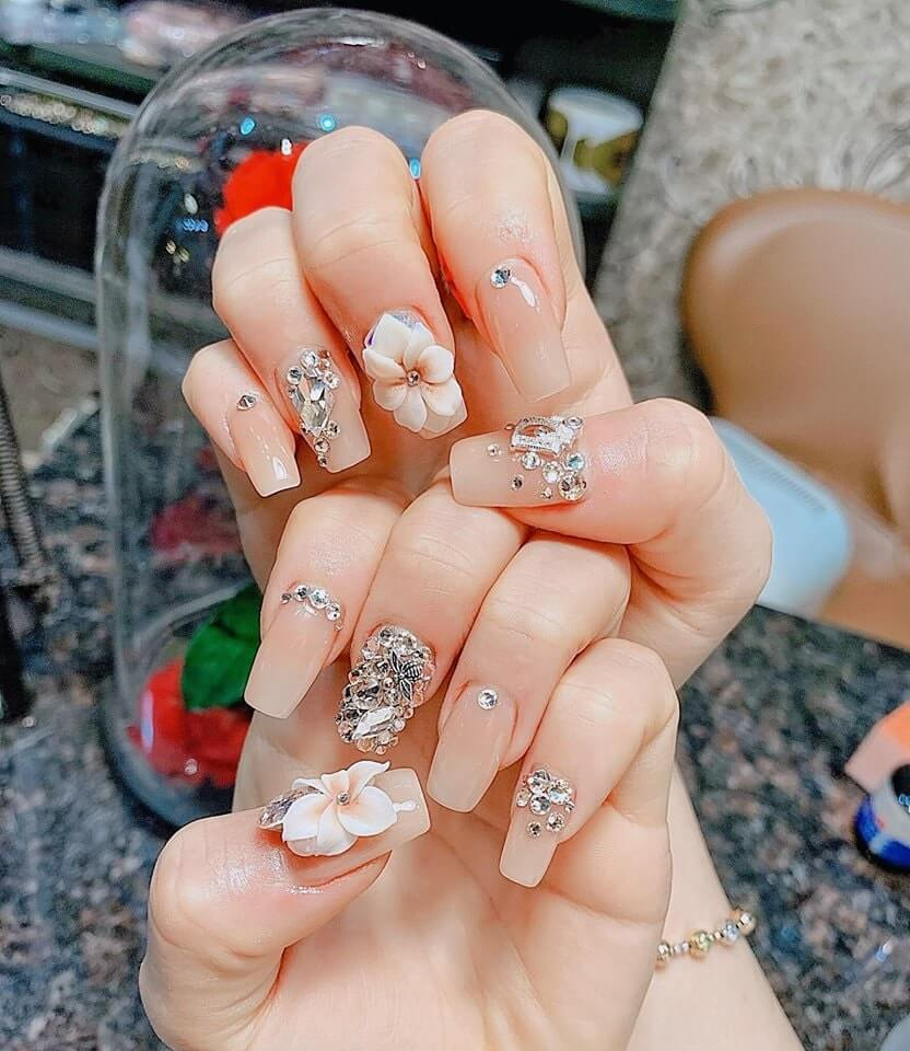 các mẫu nail đắp bột