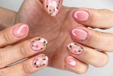 mẫu nail vẽ hoa đẹp