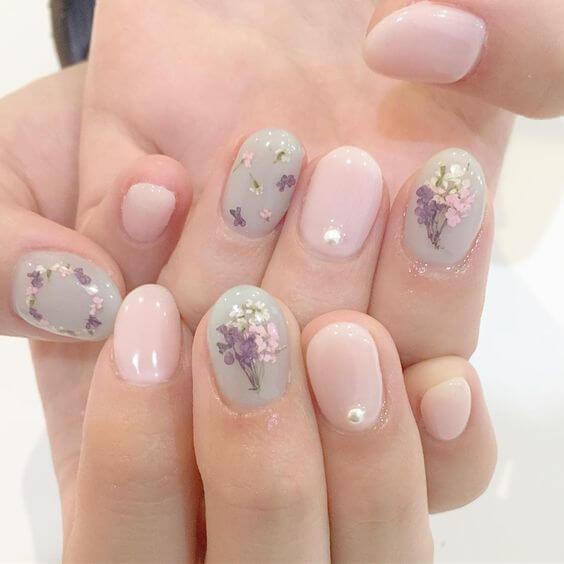 mẫu nail đính hoa đẹp