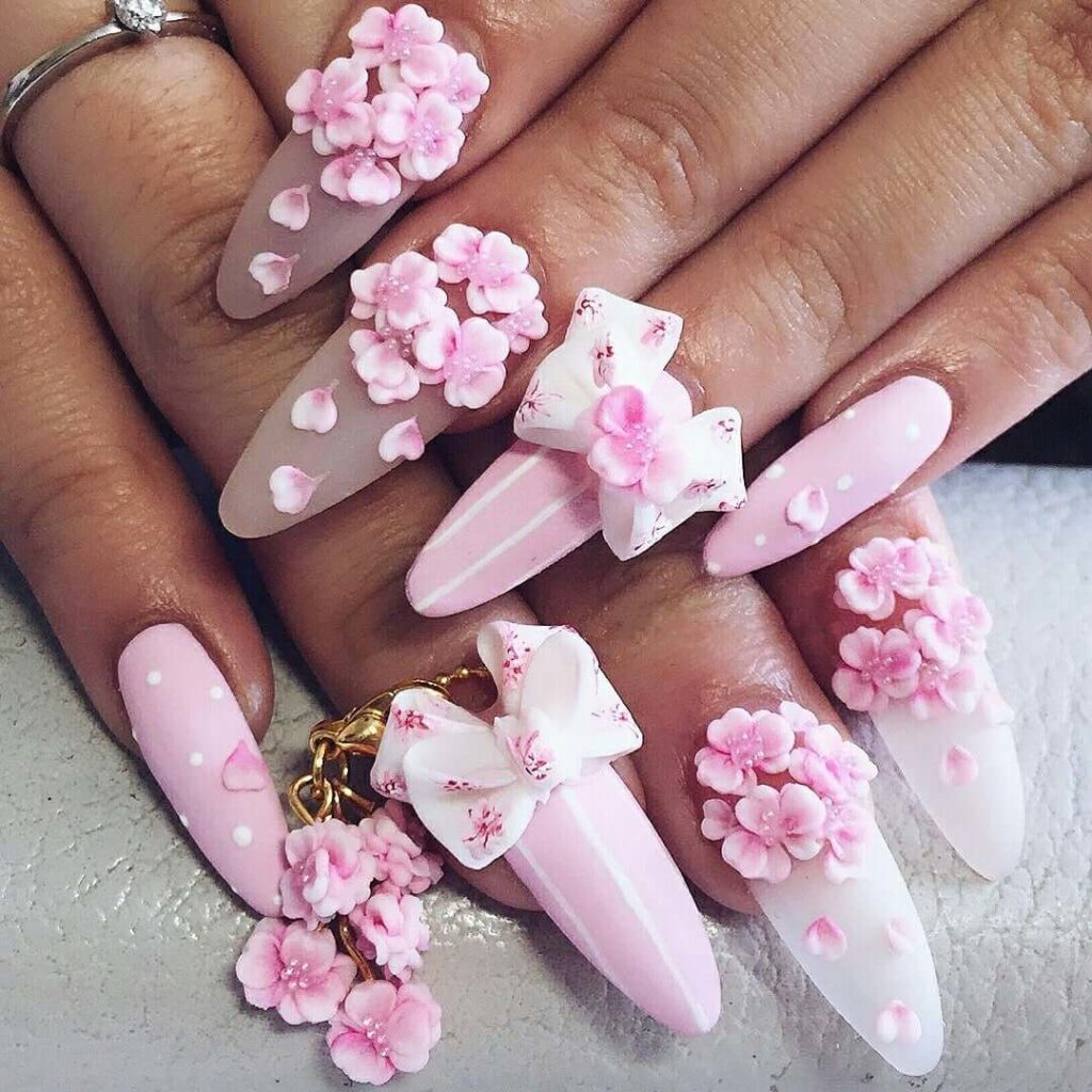 những mẫu nail hoa nổi đẹp