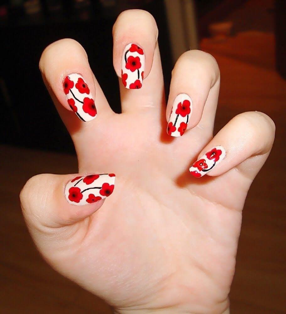 các mẫu nail hoa khô đẹp
