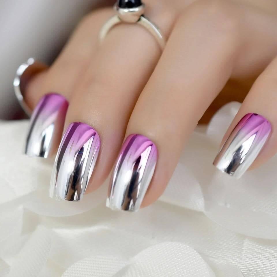 mẫu nail tráng gương