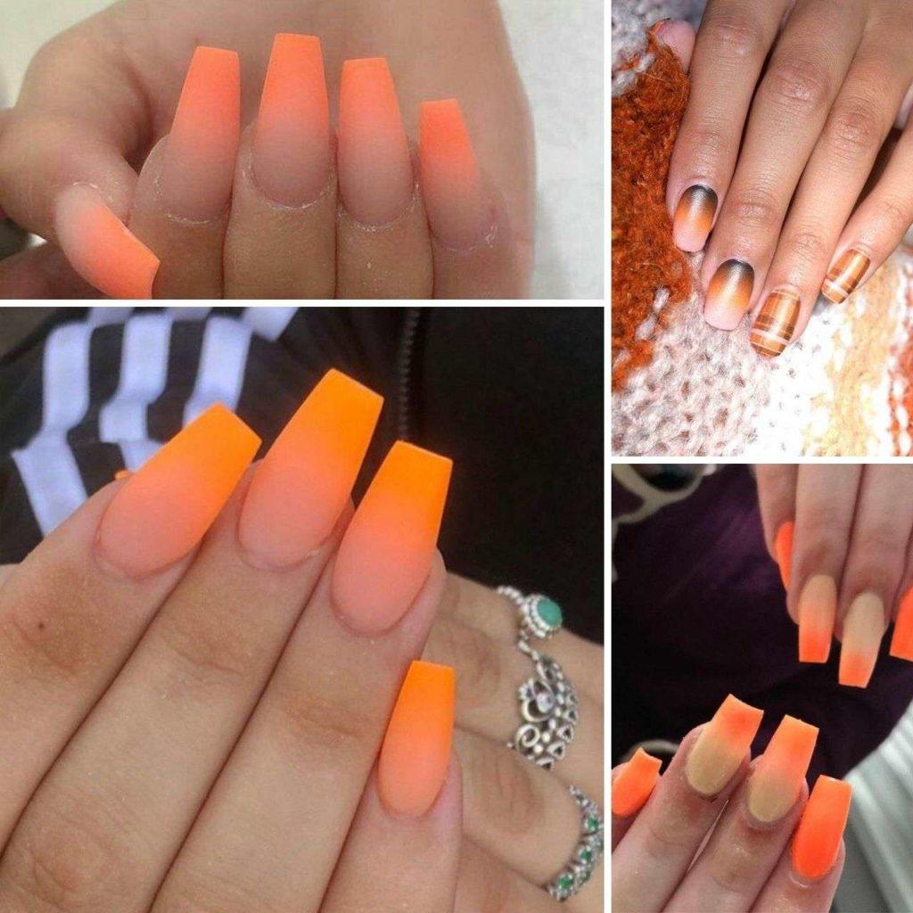 nails OMBRE màu cam